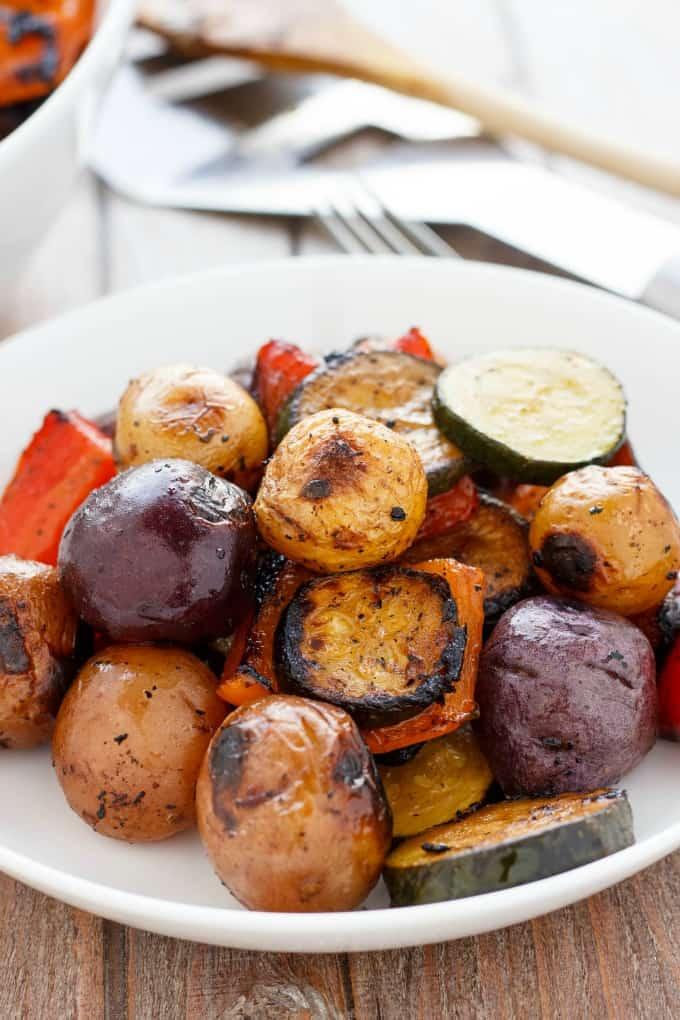 BBQ Potatoes and Vegetable Medley #vegetarian