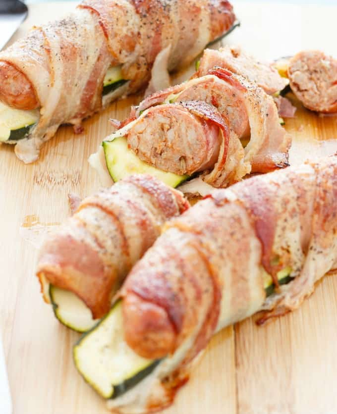 Bacon Wrapped Sausage and Zucchini #bacon