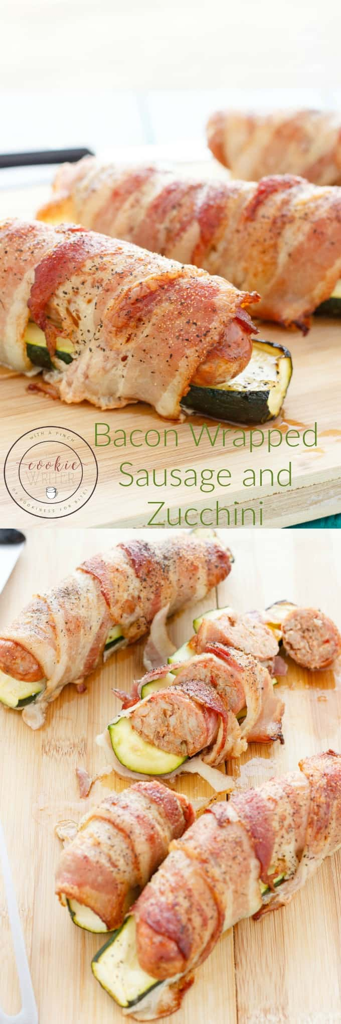 Bacon Wrapped Sausage and Zucchini