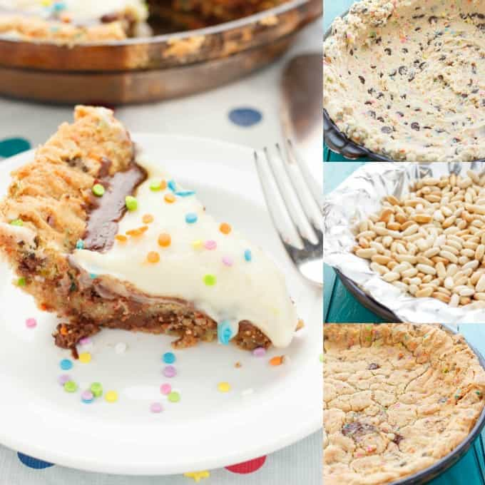 Birthday Cake Cookie and Pudding Pie #baking