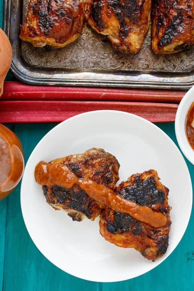 BBQ Chicken Thighs with Rhubarb BBQ Sauce #BBQ