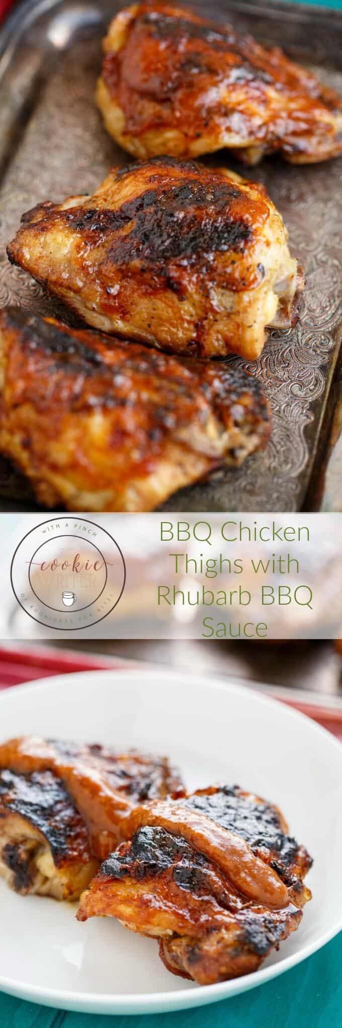 BBQ Chicken Thighs with Rhubarb BBQ Sauce