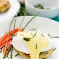 Eggs Benedict over Potato Pancakes