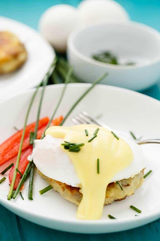 Eggs Benedict over Potato Pancakes #eggs