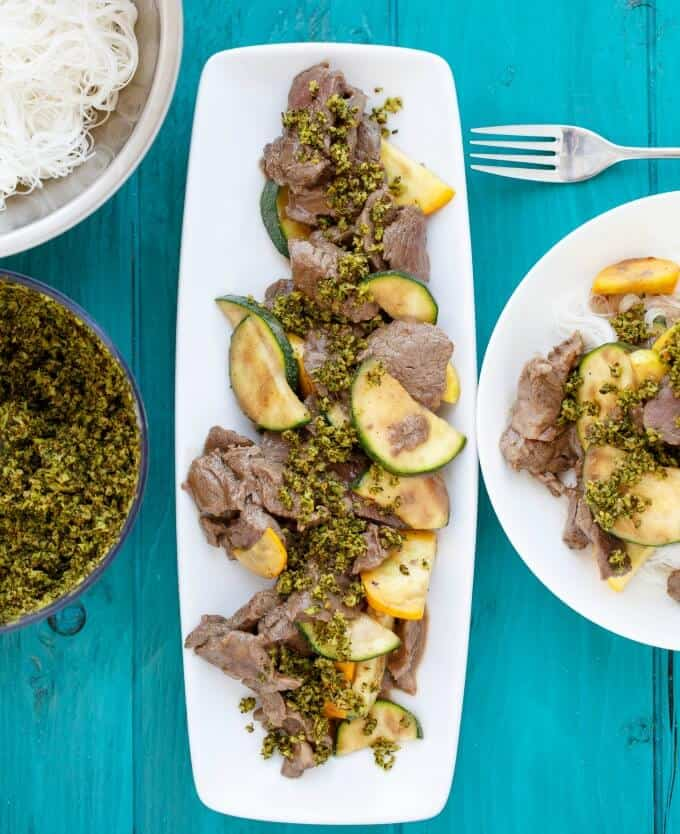 Beef and Zucchini Stir Fry with Roasted Broccoli #beef