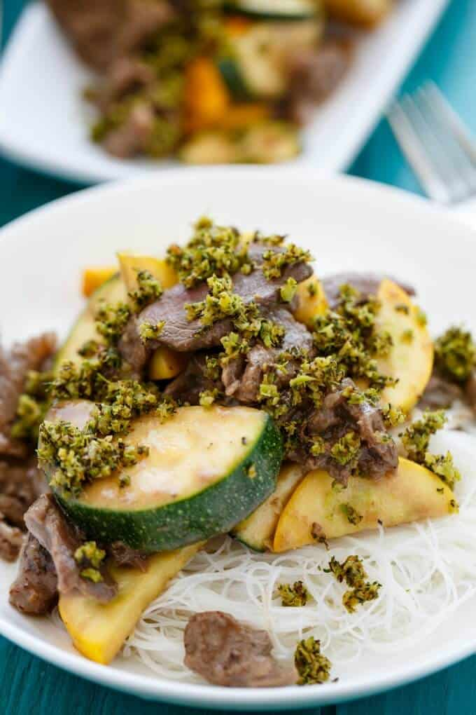 Beef and Zucchini Stir Fry with Roasted Broccoli #zucchini