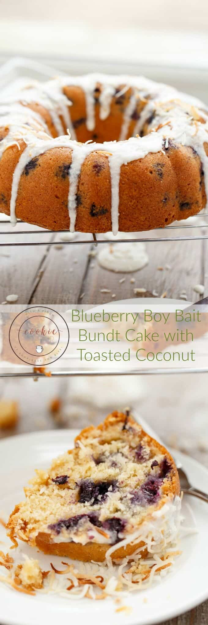 Blueberry Boy Bait Bundt Cake with Toasted Coconut