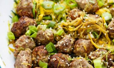Miso Meatballs over Sauteed Zucchini Noodles