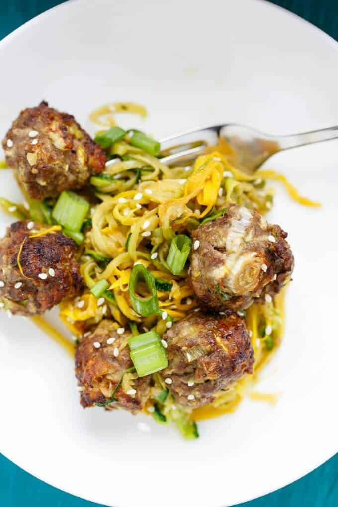 Miso Meatballs over Sauteed Zucchini Noodles #meatballs