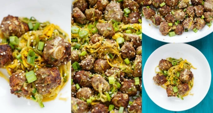 Miso Meatballs over Sauteed Zucchini Noodles #miso