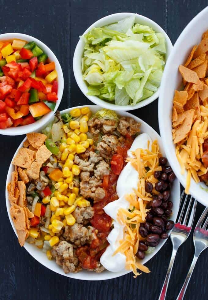 Ground Turkey Taco Salad #healthy