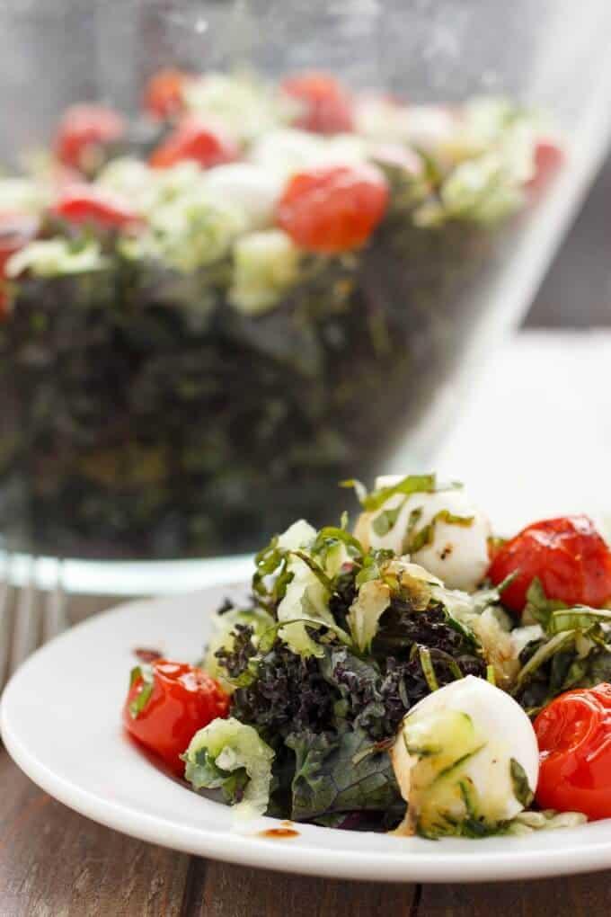 Roasted Tomato, Cucumber, and Bocconcini Salad #kale