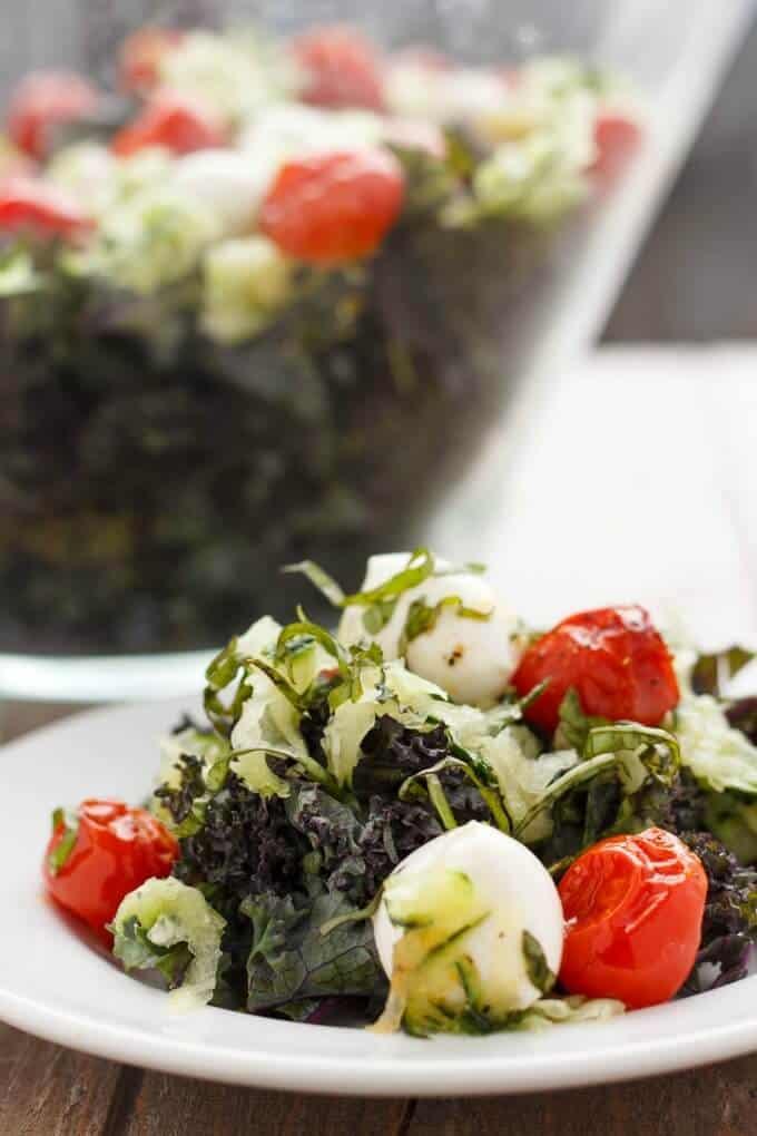 Roasted Tomato, Cucumber, and Bocconcini Salad #salad