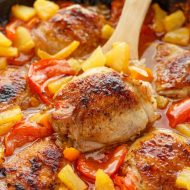 Pineapple Glazed Chicken Thighs with Peppers
