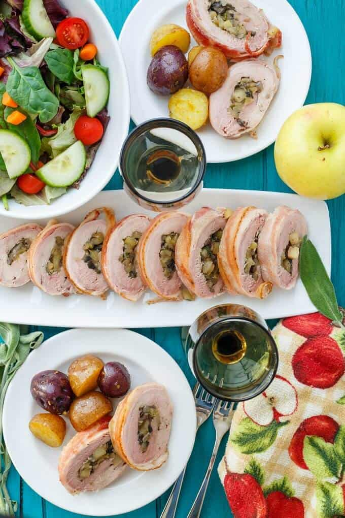 Bacon-Wrapped Apple Stuffed Pork Tenderloin