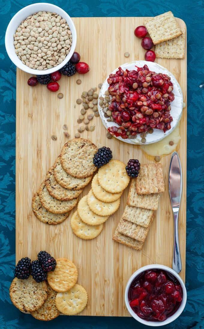 Cranberry Lentil Brie Bake