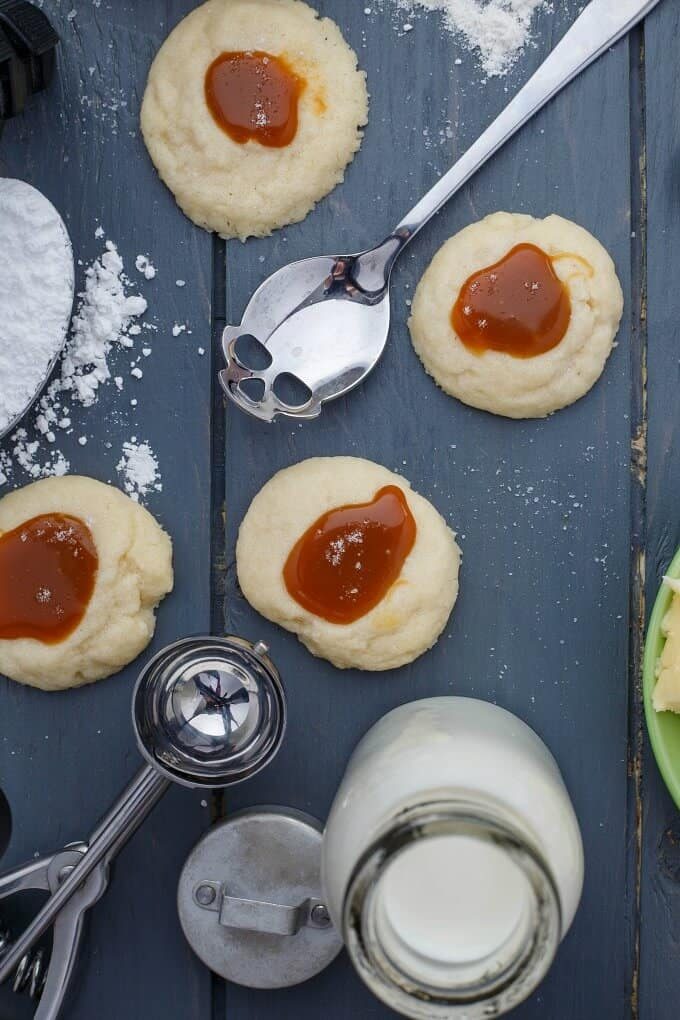 Thumbprint Caramel Shortbread Cookies