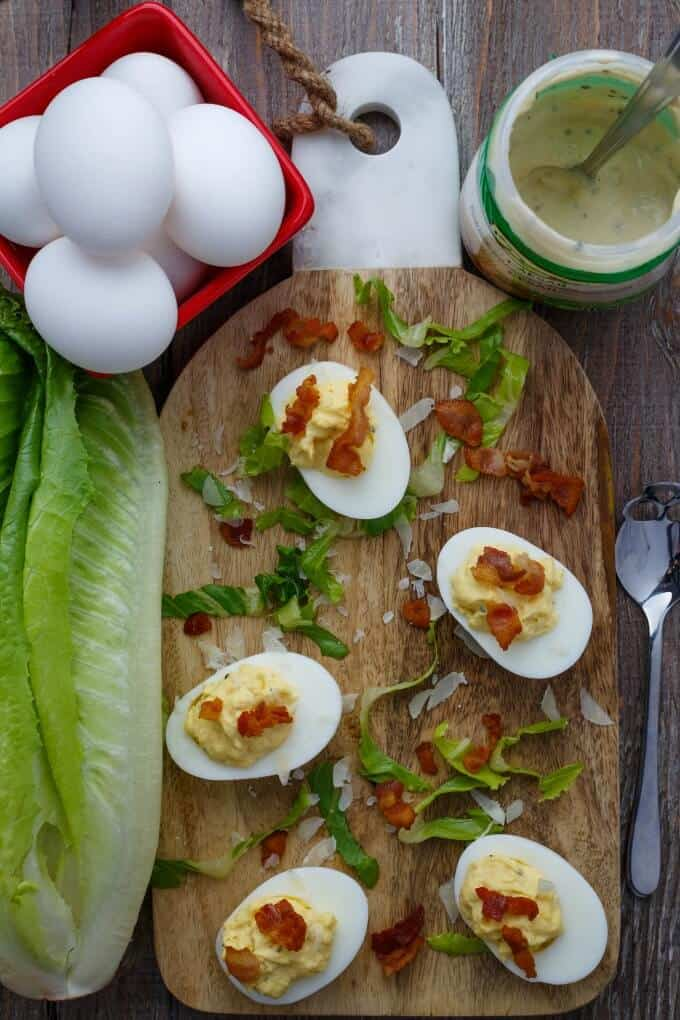 "Caesar Deviled Eggs (Caesar ""Salad"") - The Cookie Writer"
