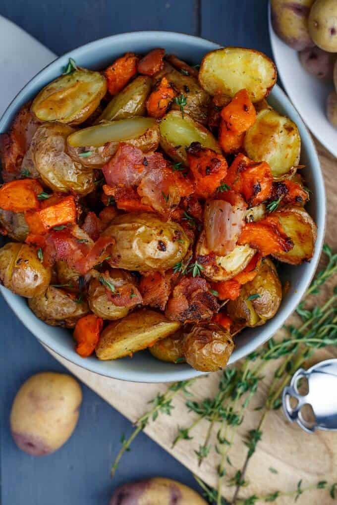 Roasted Bacon Thyme Potatoesvvv