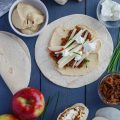 Caramelized Onion Apple Wraps with Hummus