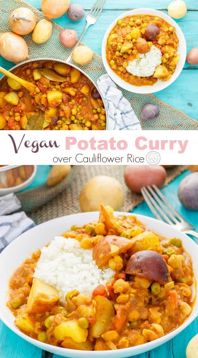 Vegan Potato Curry over Cauliflower Rice