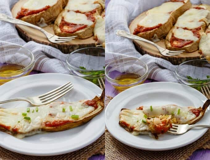 Baked Eggplant Pizza Crust Slices