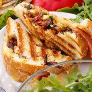 Caramelized Onion-Mushroom Grilled Cheese Sandwich with Apple