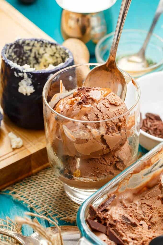 Dark Chocolate Blue Cheese Ice Cream with Honey
