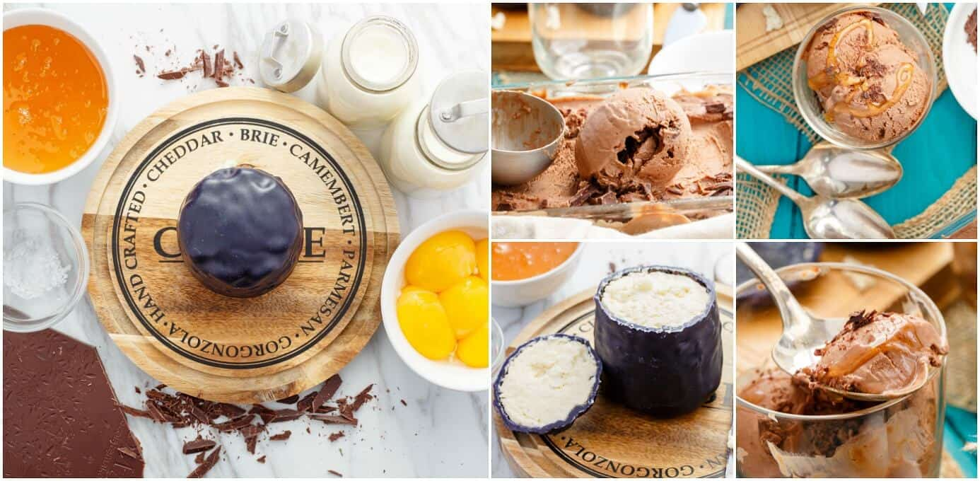 Dark Chocolate Blue Cheese Ice Cream with Honey