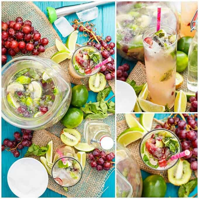 Fresh Kiwi-Grape Mojitos