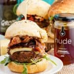 Homemade Honey-Garlic Hamburgers with Maple-Bacon Caramelized Onions