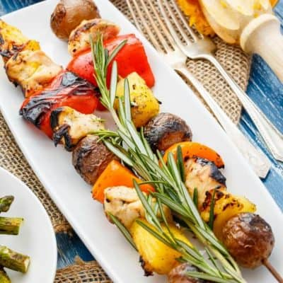 Orange Chicken Pineapple Potato Kabobs