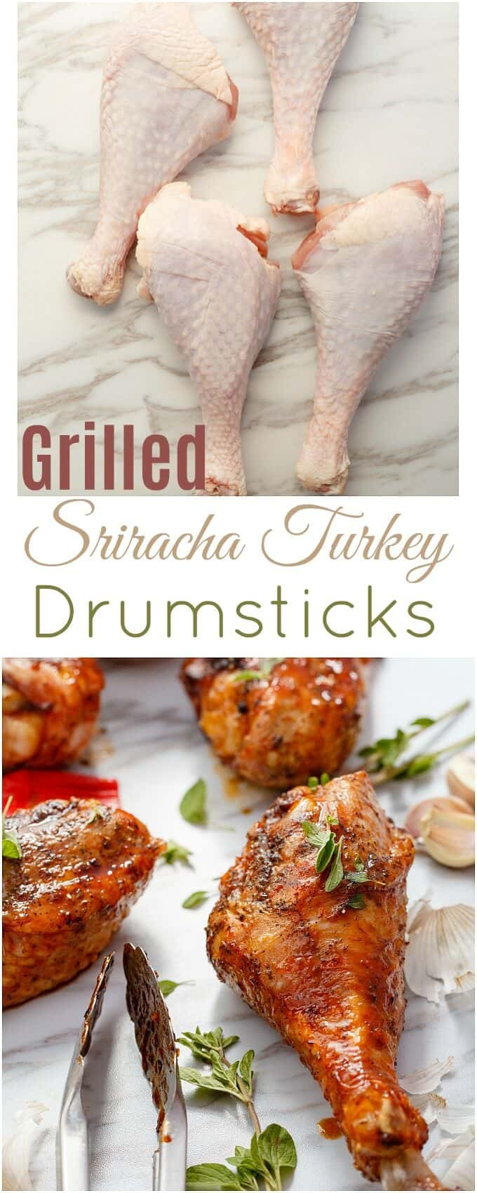 Grilled Sriracha Turkey Drumsticks