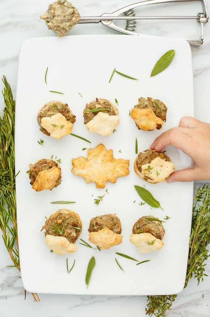 Tourtiere Stuffed Mushrooms (Meat Pie Mushrooms)