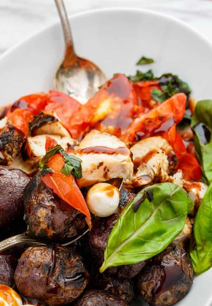 Grilled Turkey Caprese Salad