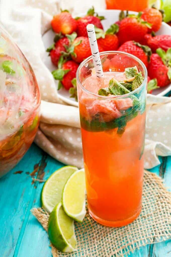 Strawberry-Rhubarb Mojitos