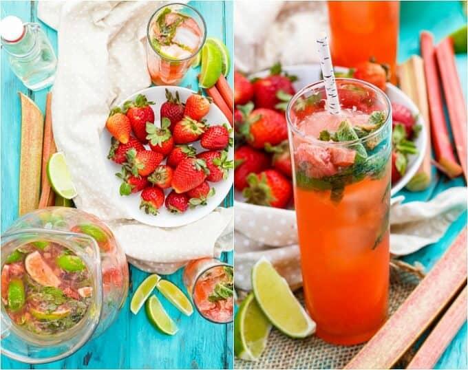 Strawberry-Rhubarb Mojitos