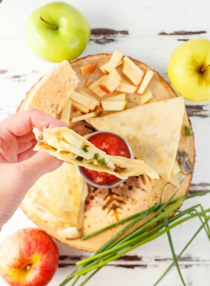 Apple-Cheese Quesadillas with Mushrooms