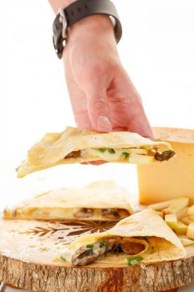 Apple-Cheese Quesadillas with Mushrooms