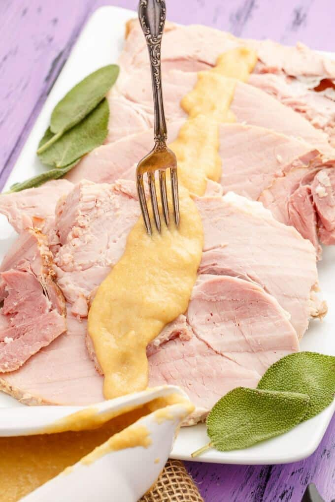 Slow Cooker Honey-Mustard Apple Ham