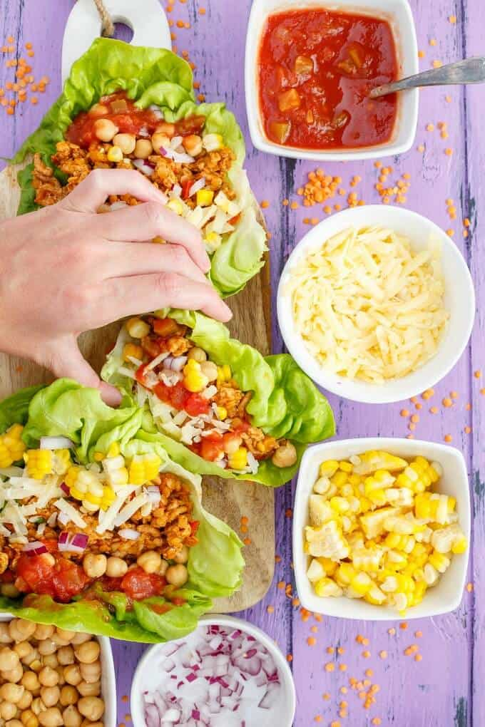 Taco Turkey-Lentil Lettuce Wraps