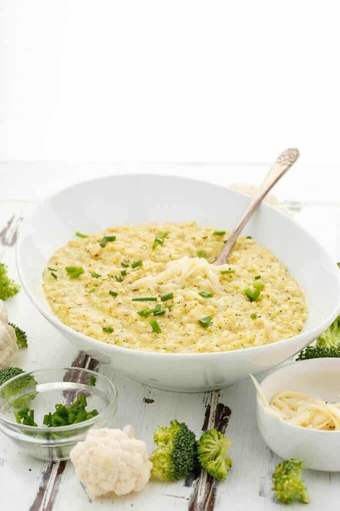 Cheesy Broccoli-Cauliflower Risotto