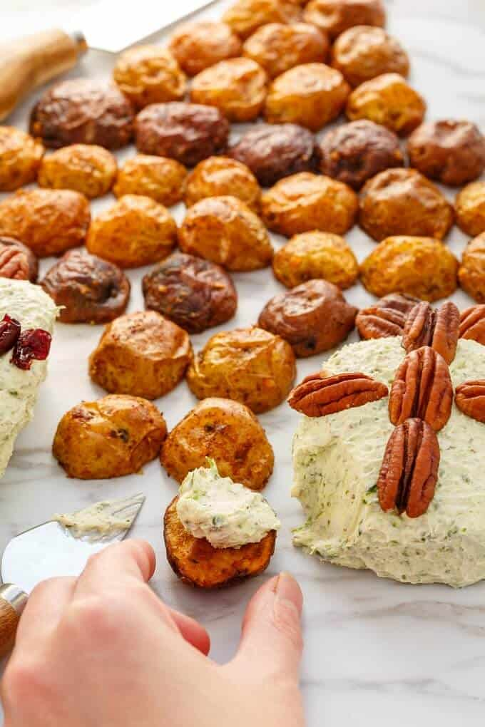 Holiday Cheese Ball with Roasted Potatoes