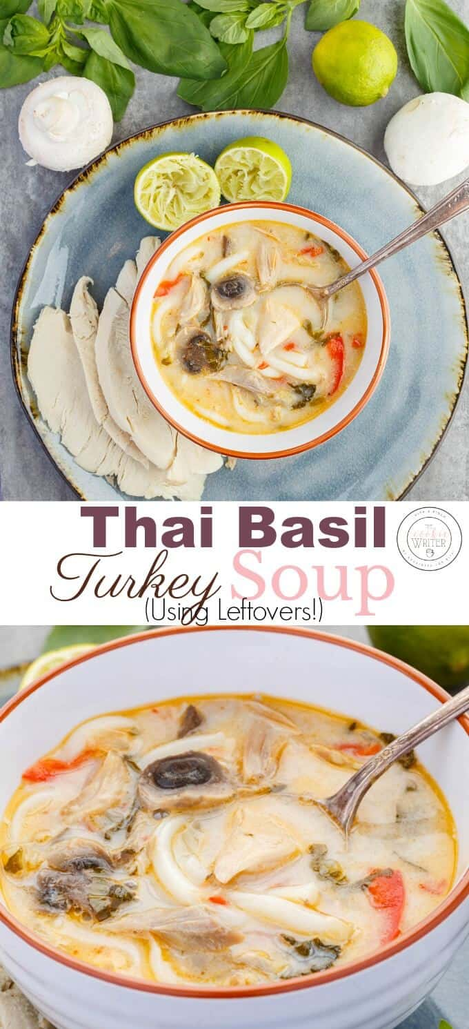 Inauthentic Thai Basil Turkey Soup (Using Leftovers!)