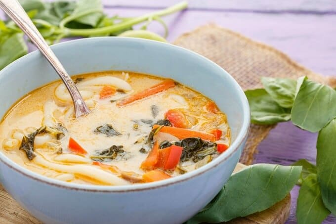 Inauthentic Vegetarian Thai Basil Soup