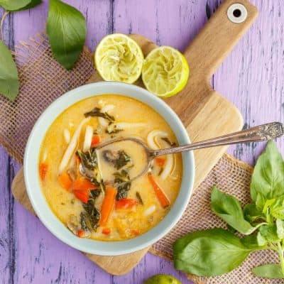 (Inauthentic) Vegetarian Thai Basil Soup (Vegan!)