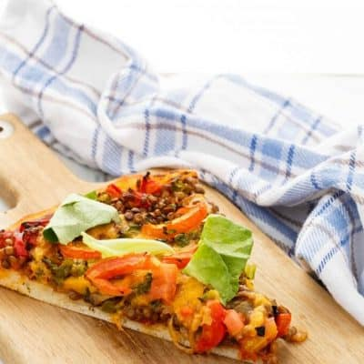 Vegetarian Lentil Cheeseburger Pizza