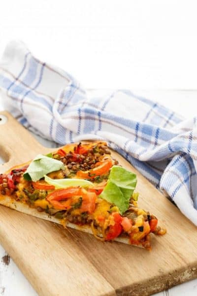 Vegetarian Lentil Cheeseburger Pizza