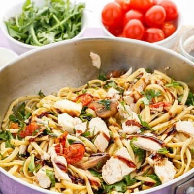 Roasted Chicken Caprese Pasta