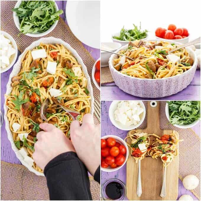 Roasted Mushroom Caprese Pasta
